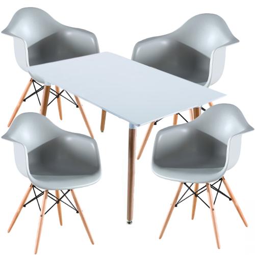 Kit Sillas Eames reposabrazos, muebles de la sala de estar, jardín, comedor, cafetería y restaurante, modernas, prácticas y portátiles, junto con la mesa de comedor o restaurante.